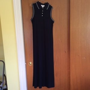 Cute Collared NWT Sleeveless Long Black Dress!